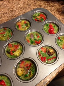 roasted veggies and eggs in muffin pan