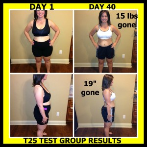 HERE ARE MY T25 TEST GROUP RESULTS